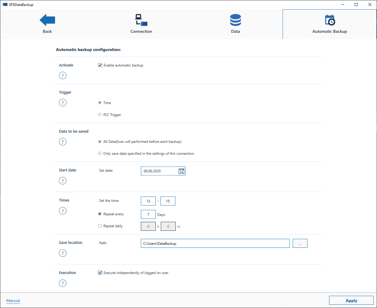 Customizing the Automatic Backup configurations
